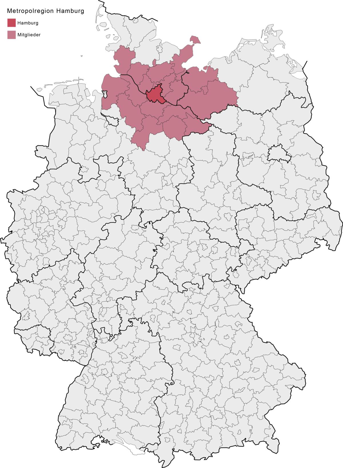 karta nemacke hamburg Hamburg Metropolitan Region   Wikipedia karta nemacke hamburg
