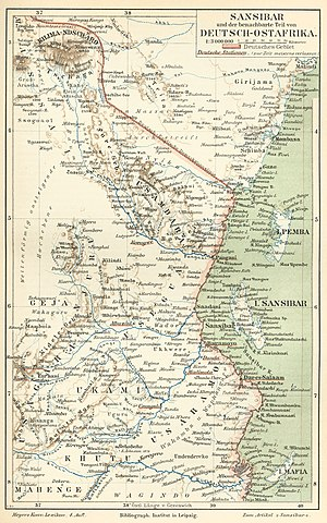 Abushiri revolt - Zanzibar and German East Africa, Meyers Konversations-Lexikon, 1885-90