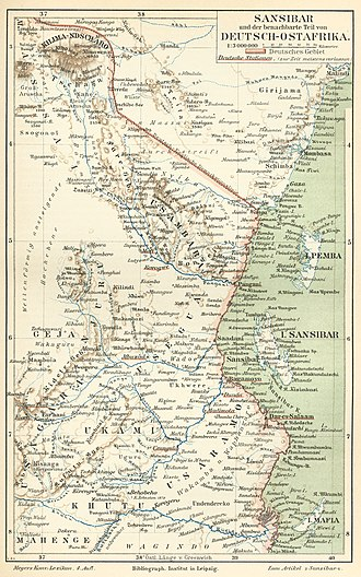 "Mount Kilimanjaro - Historical map with ""Kilima-Ndscharo"" in German East Africa, 1888"