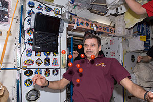 Mikhail Kornienko - Mikhail Kornienko near floating tomatoes in the Unity Node of the ISS.