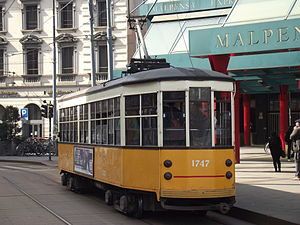 Peter Witt streetcar - A Milanese Class 1500 car in the city's present yellow and white color scheme.