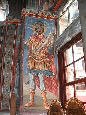 Miloš Obilić - Icon of Miloš Obilić in Hilandar, depicted as a holy warrior.