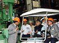 Minister of Defence Arun Jaitley reviews the construction of Scorpene class submarines at Mazagaon Dock Mumbai.jpg