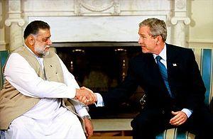 Zafarullah Khan Jamali - Prime Minister Jamali shaking hands with President George W. Bush, 2003