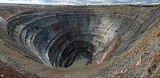 Mir mine inactive open pit diamond mine in Russia
