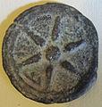 Moneta etrusca con ruota, asse, gr. 170, 10, III sec. ac..JPG