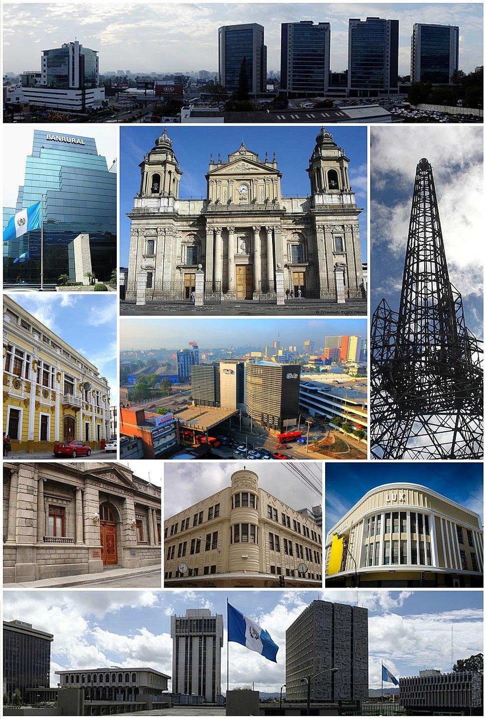 Collage of several city landmarks