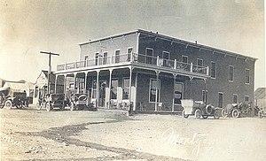Beatty, Nevada - The Montgomery Hotel in 1905. It was owned by Bob Montgomery, namesake of the Montgomery-Shoshone Mine in nearby Rhyolite.