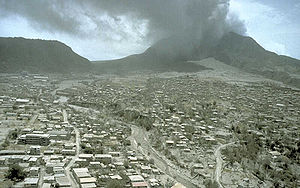 Plymouth, Montserrat - By 12 July 1997, pyroclastic flows had burned much of what had not already been covered in ash