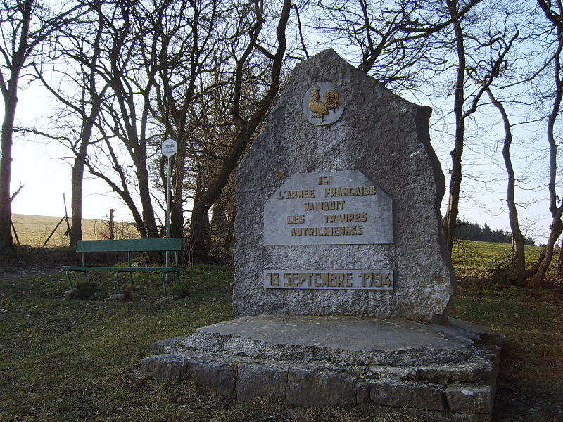 "La Redoute Liège-Bastogne-Liège's bicycle race difficulty at Aywaille; Monument in honour of the French victory against the Austrian Troops in 1794 Text: ""Here the French Army won against the Austrian troops""."