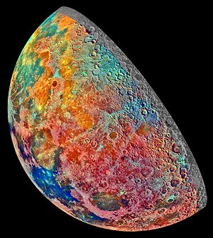 False color - A mosaic constructed from a series of 53 images taken through three spectral filters by Galileo's imaging system as it flew over the northern regions of the Moon in December 1992.