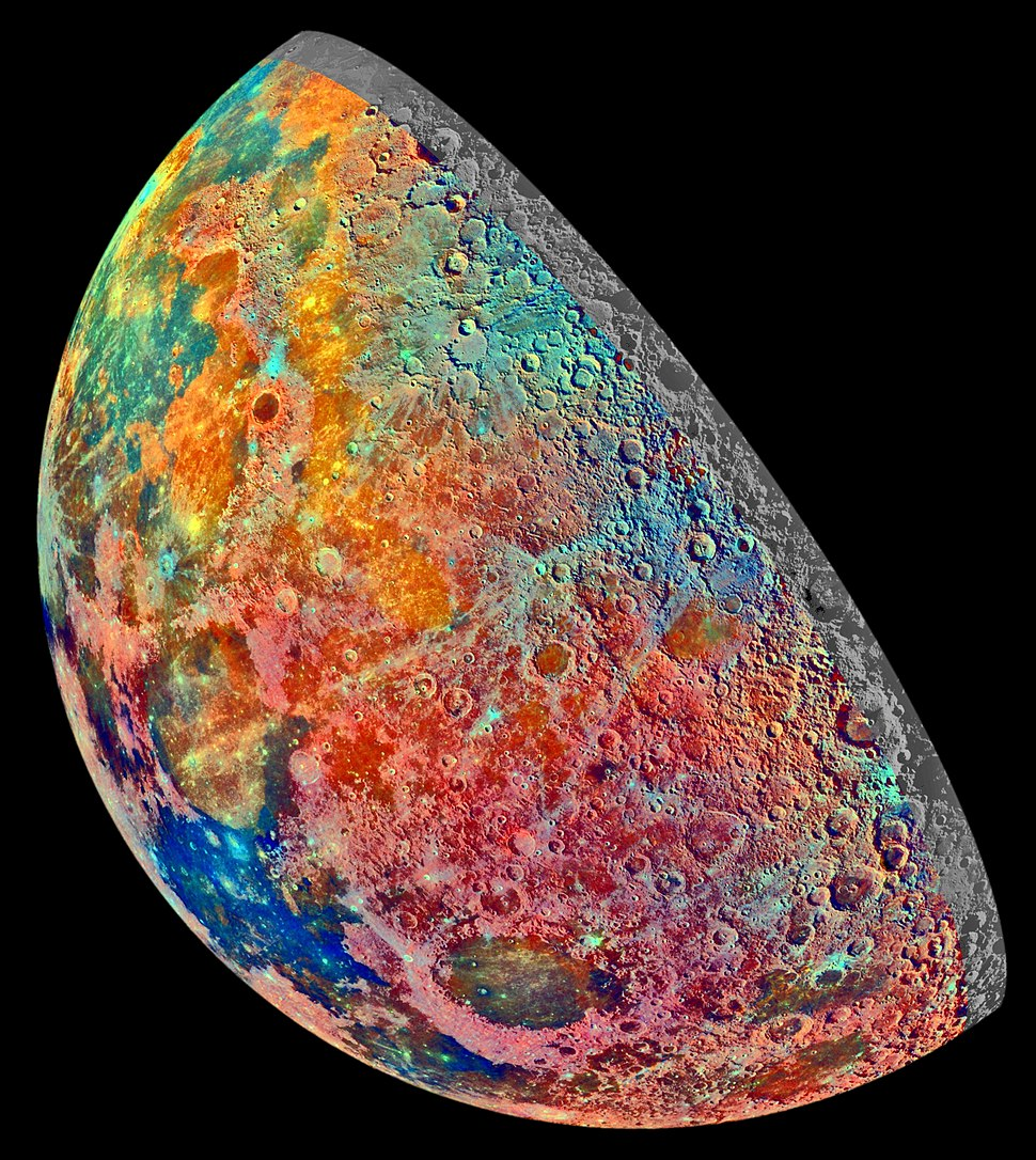 Moon Crescent - False Color Mosaic