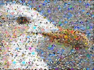 picture that has been divided into tiled sections, each of which is replaced with another matching photo; at low magnifications, the individual pixels appear as the primary image, while close examination shows that it consists of many smaller photos
