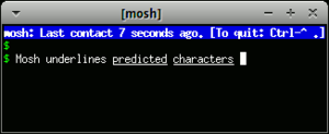 Mosh (software) - Screenshot of Mosh (software), showing warning of intermittent network connection and local echoing feature