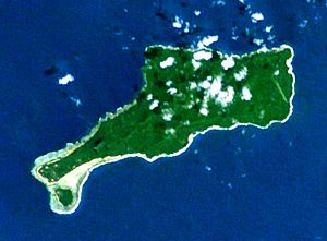 Mota Lava - Mota Lava, viewed from space. On the southwest point one may see the islet of Ra.