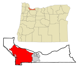 Multnomah County Oregon Incorporated and Unincorporated areas Portland Highlighted.svg