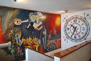 Relojes Centenario - View of the stairwell to the clock museum