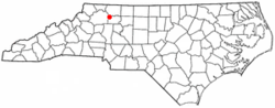 Location of Jonesville, North Carolina
