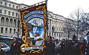 Government Communications Headquarters - NUCPS banner on march in Cheltenham 1992
