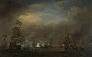 The encounter between Cornelis Tromp on the 'Gouden Leeuw'and Sir Edward Spragg on the 'Royal Prince'in the night of 21 August 1673, during the Battle of Kijkduin: episode from the Third Angli-Dutch War (1672-74)