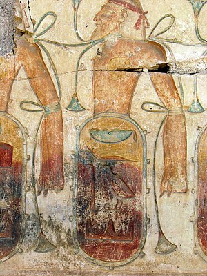 Caphtor -  detail of a generic captive enemy with the hieroglyph for Keftiu under it at Ramses II's temple at Abydos