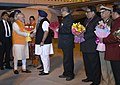 Narendra Modi being received by the Chief Minister of Punjab, Shri Parkash Singh Badal, the Union Minister for Food Processing Industries, Smt. Harsimrat Kaur Badal and the Minister of State for Social Justice & Empowerment.jpg