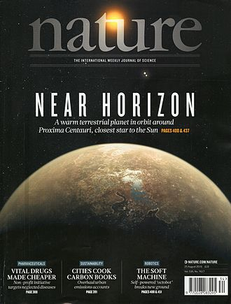 Nature (journal) - Image: Nature volume 536 number 7617 cover displaying an artist's impression of Proxima Centauri b