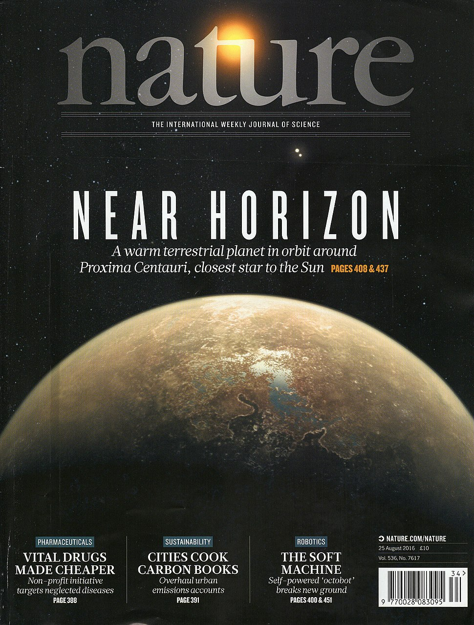Nature volume 536 number 7617 cover displaying an artist's impression of Proxima Centauri b