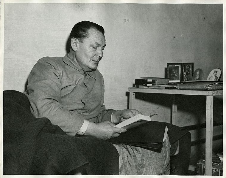 File:Nazi official Hermann Göring in jail cell Nuremberg Trials 1945.jpeg