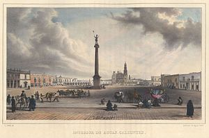 Aguascalientes City - Aguascalientes ca. 1836, by Carl Nebel