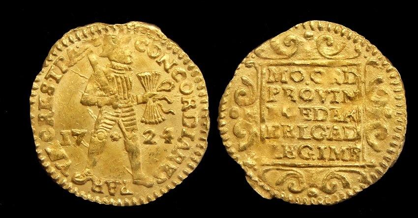 Nederland gouden dukaat 1724 VOC scheepswrak Akerendam