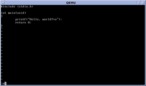 vi editing a Hello World program in C. Tildes signify lines not present in the file.