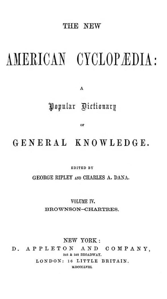 New American Cyclopaedia 1858 vol 4 title page