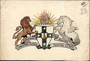 Coat of arms of New Zealand - In 1908 a competition was held to design a coat of arms. This entry, 'Nostra Patria Nostro Generi', is by an unknown designer and was one of the final three selected. It is representative of the wide variety of imagery and colourful symbolism that characterised the competition entries. As the accompanying notes on the design indicate, it features traditional heraldic imagery of a hippocamp, a lion rampant and a 'sea-lion guardian'.