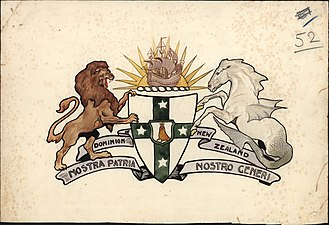 Coat of arms of New Zealand - In 1908 a competition was held to design a coat of arms. This entry, 'Nostra Patria Nostro Generi', is by an unknown designer and was one of the final three selected. It features traditional heraldic imagery of a hippocamp, a lion rampant and a 'sea-lion guardian'.