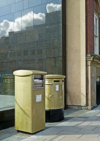 Nicola Adams - Postboxes on Cookridge Street in Leeds painted gold in honour of Adams' Olympic Gold medal win.