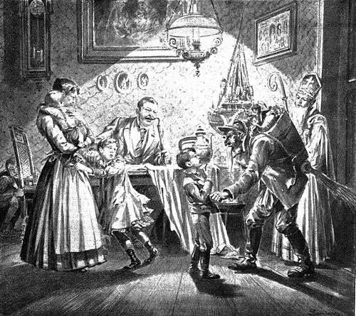 Krampus and Saint Nicholas visit a Viennese home in 1896. - Krampus