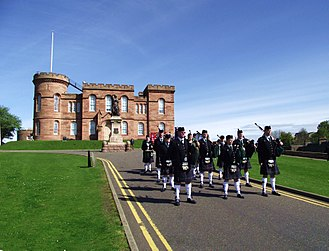 Inverness Castle - Image: Northern Constabulary Pipe Band TUC Parade in Inverness Scotland (14163727423)