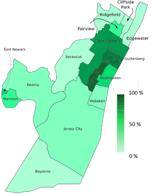 Havana on the Hudson - Hudson and southeast Bergen showing percentage of Hispanic population per town