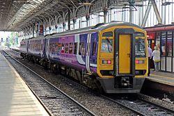 Northern Rail Class 158, 158755, platform 2, Preston railway station (geograph 4499589).jpg