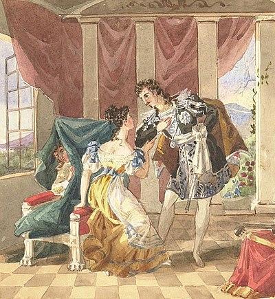Aquarelle d'une scène de l'acte I: Le comte fait ses avances à Suzanne tandis que Chérubin est dissimulé sur le fauteuil