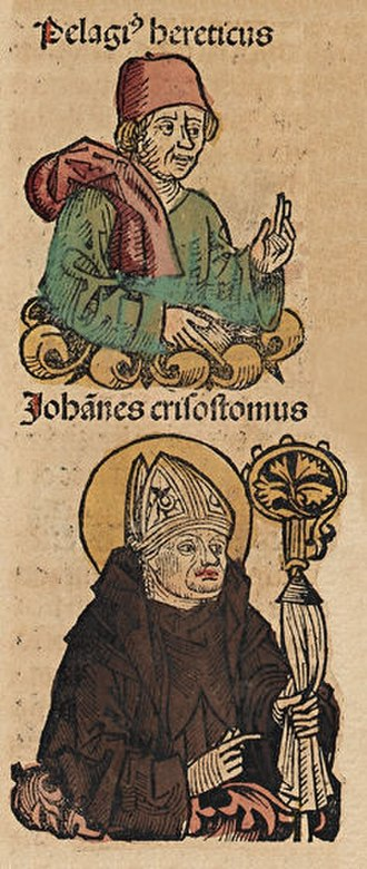 Pelagianism - Pelagius Hereticus and John Chrysostom depicted in the Nuremberg Chronicle, 1493