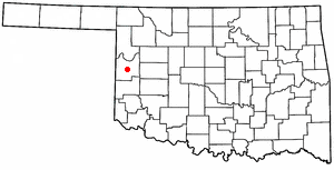 Cheyenne, Oklahoma - Image: OK Map doton Cheyenne