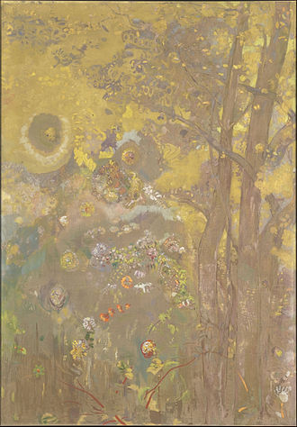 Odilon Redon - Arbres sur un fond jaune, one of the panels painted in 1901 for the dining room of the Château de Domecy-sur-le-Vault