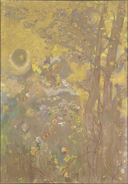 Arbres sur un fond jaune, one of the panels painted in 1901 for the dining room of the Chateau de Domecy-sur-le-Vault Odilon Redon - Trees on a yellow Background - Google Art Project.jpg