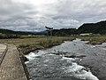Ogatagawa River and torii of Ninomiya Shrine from Harajirinotaki Bridge 2.jpg