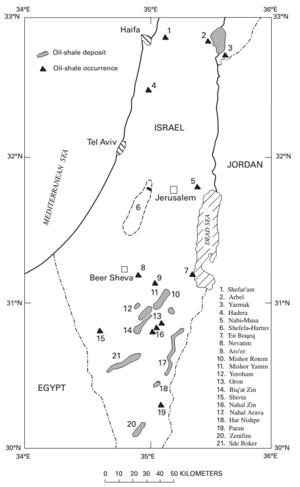 Oil shale in Israel - Oil shale deposits in Israel