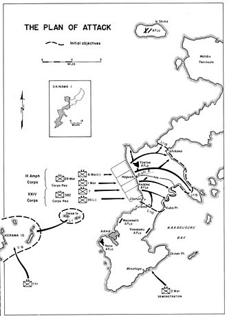 6th Marine Division (United States) - Initial plan of the assault showing the 6th Marine Division's role.