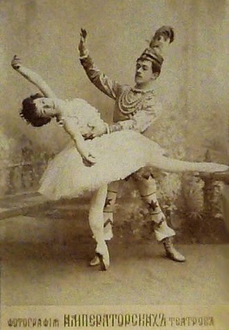 The Nutcracker - Olga Preobrajenska as the Sugar Plum Fairy and Nikolai Legat as Prince Coqueluche in the Grand pas de deux in the original production of The Nutcracker. Imperial Mariinsky Theatre, St. Petersburg, c. 1900