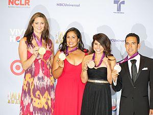 Leonel Manzano - Manzano (far right) along with Jessica Steffens, Marlen Esparza and Brenda Villa at the 2012 ALMA Awards